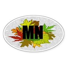 Minnesota Fall Foliage Leaves Oval Decal