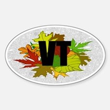 Vermont VT Fall Foliage Leaves Oval Decal