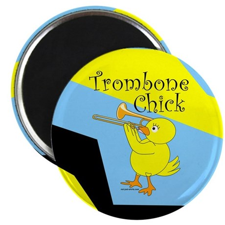 """Trombonist Chick Text 2.25"""" Magnet (10 pack)"""