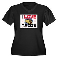I Love Tacos Women's Plus Size V-Neck Dark T-Shirt