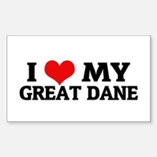 I Love My Great Dane Rectangle Decal