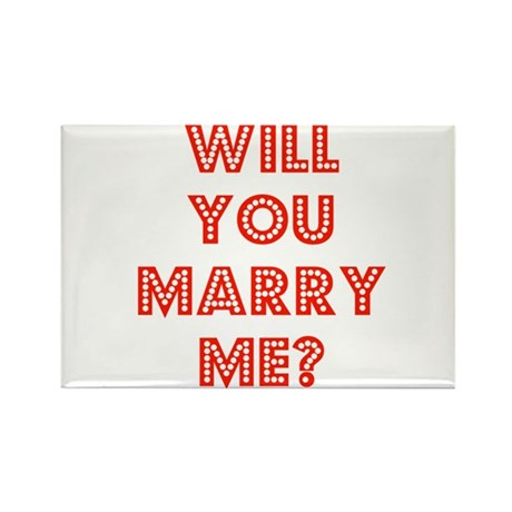 Retro - Will you marry me? Rectangle Magnet (100 p