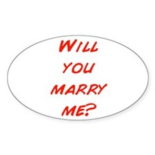 Comic - Will you marry me? Oval Decal