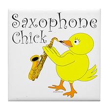 Saxophone Chick Tile Coaster