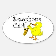 Saxophone Chick Oval Decal