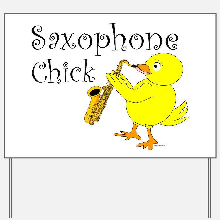 Saxophone Chick Yard Sign