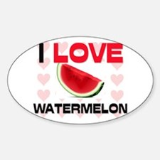 I Love Watermelon Oval Decal