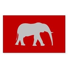 Red/Grey Elephant Logo Rectangle Decal