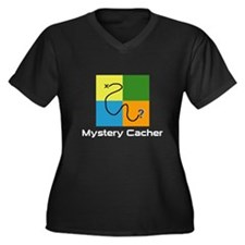 Mystery Cacher Women's Plus Size V-Neck Dark T-Shi