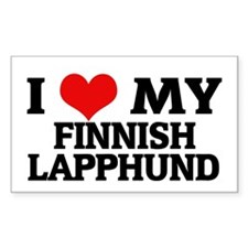 I Love My Finnish Lapphund Rectangle Decal