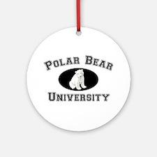 Polar Bear University Christmas Ornament (Round)
