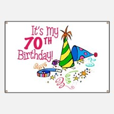 It's My 70th Birthday (Party Hats) Banner