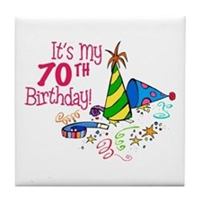 It's My 70th Birthday (Party Hats) Tile Coaster