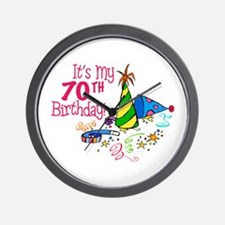 It's My 70th Birthday (Party Hats) Wall Clock