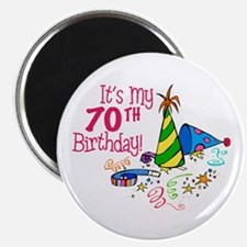 """It's My 70th Birthday (Party Hats) 2.25"""" Magnet (1"""