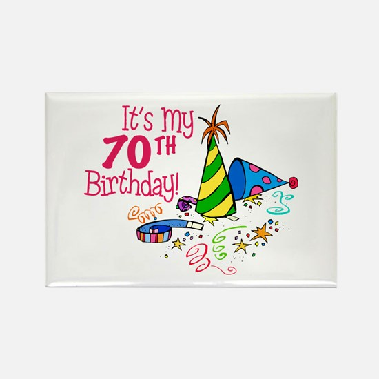 It's My 70th Birthday (Party Hats) Rectangle Magne