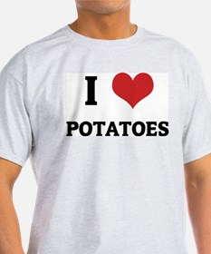 I Love Potatoes Ash Grey T-Shirt