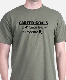4th Grade Teacher Career Goals Rockstar T-Shirt