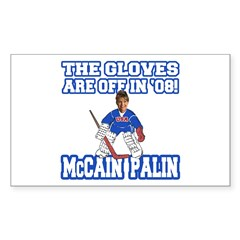 McCain Palin Gloves Are Off Rectangle Sticker