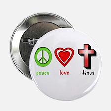 """Peace, Love, Jesus 2.25"""" Button"""