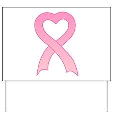 Pink Heart Ribbon Yard Sign