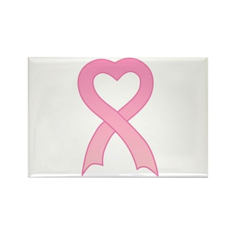 Pink Heart Ribbon Rectangle Magnet