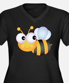 Cute Bee Women's Plus Size V-Neck Dark T-Shirt