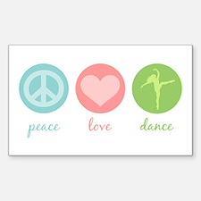 Peace, Love & Dance Rectangle Decal