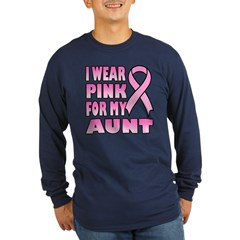 Aunt Pink Ribbon Long Sleeve Dark T-Shirt
