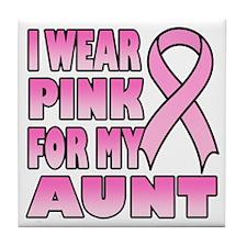 Aunt Pink Ribbon Tile Coaster