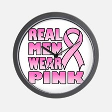 Real Men Wear Pink Wall Clock