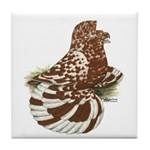English Trumpeter Red Splash Tile Coaster