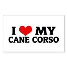 I Love My Cane Corso Rectangle Decal