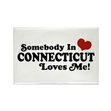 Somebody in Connecticut Loves Me Rectangle Magnet
