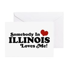 Somebody in Illinois Loves Me Greeting Cards (Pk o