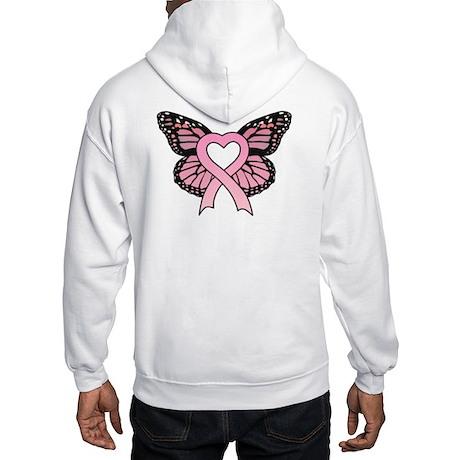 Pink Ribbon Butterfly Hooded Sweatshirt
