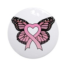 Pink Ribbon Butterfly Ornament (Round)