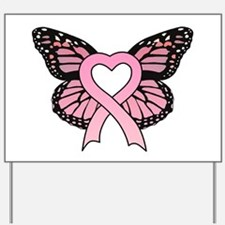 Pink Ribbon Butterfly Yard Sign