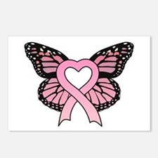 Pink Ribbon Butterfly Postcards (Package of 8)