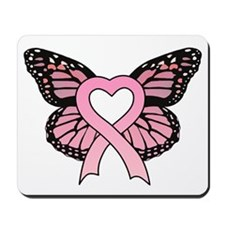 Pink Ribbon Butterfly Mousepad