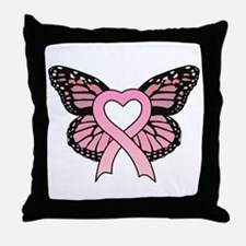 Pink Ribbon Butterfly Throw Pillow