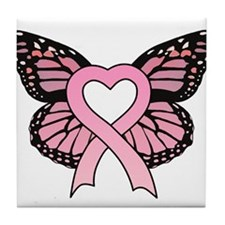 Pink Ribbon Butterfly Tile Coaster