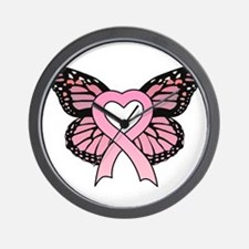Pink Ribbon Butterfly Wall Clock
