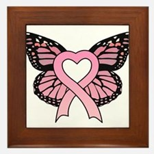 Pink Ribbon Butterfly Framed Tile