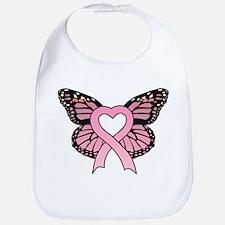 Pink Ribbon Butterfly Bib