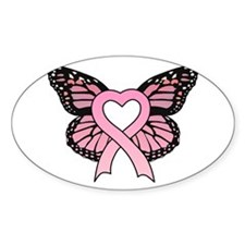 Pink Ribbon Butterfly Oval Stickers