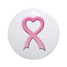Heart Pink Ribbon Ornament (Round)