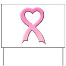 Heart Pink Ribbon Yard Sign