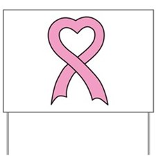 Pink Ribbon Heart Yard Sign