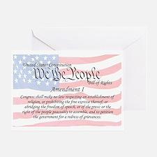 Amendment I and Flag Greeting Card